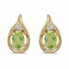 and  Diamond Earrings 14k Solid Yellow Gold Oval 5x7mm Genuine Peridot=1.90ct