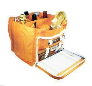 BoyzToys-Open-Picnic-Set-Orange-Hamper-Carry-Bag-with-Various-Accessories-NEW