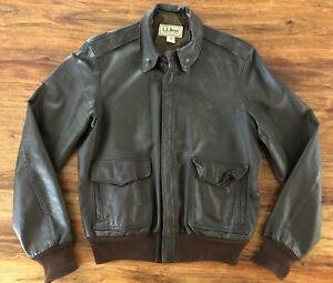 Vintage-Mens-L-L-Bean-Leather-Bomber-Jacket-Size-44-Long-Made-In-The-USA