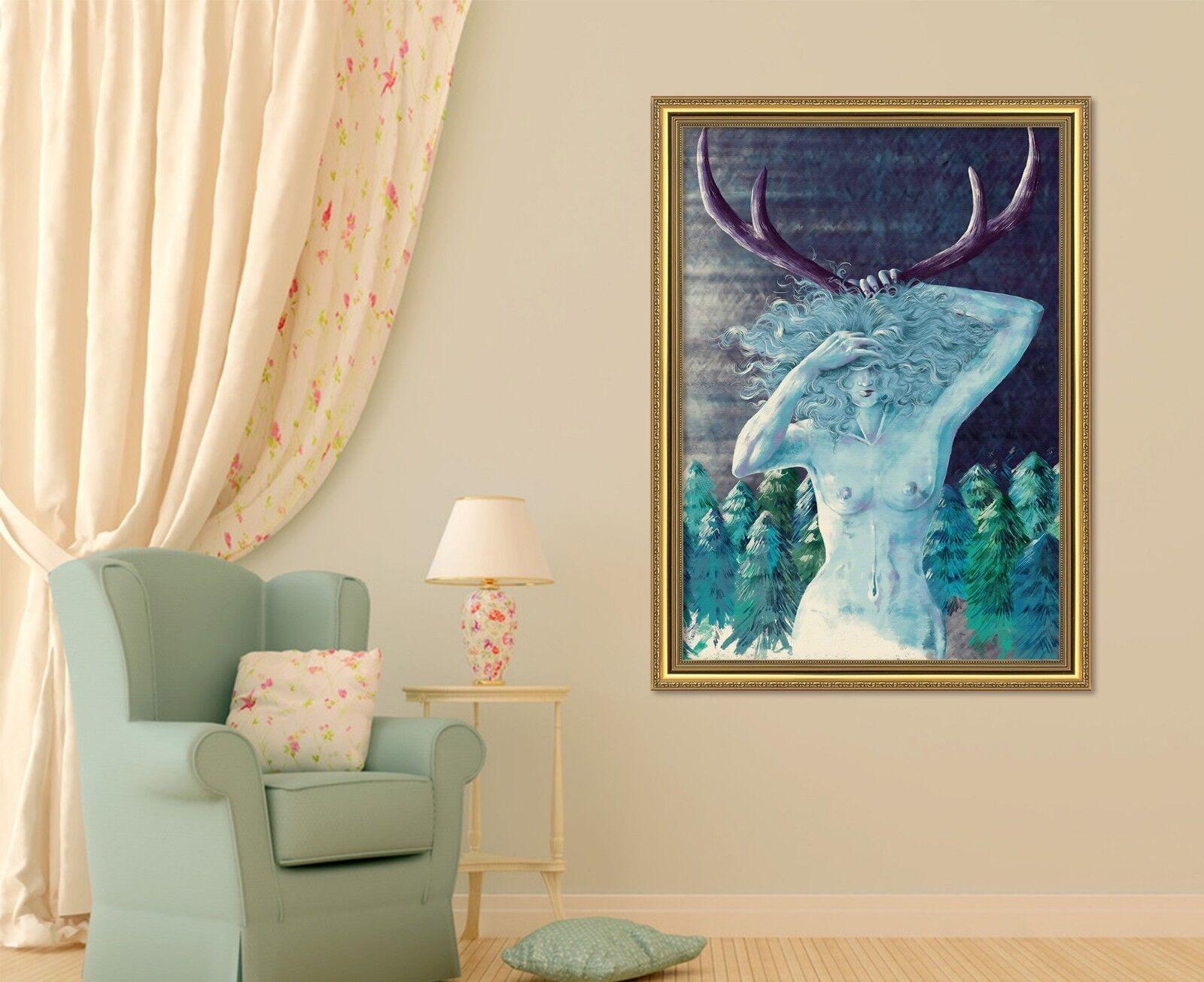 3D Statue Deer 59 Framed Poster Home Decor Print Painting Art AJ AU