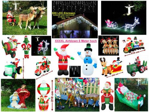 XXXL LED MAGIC SET Rentier+Schlitten+Weihnachtsmann 210cm lang Elch Santa WOW!