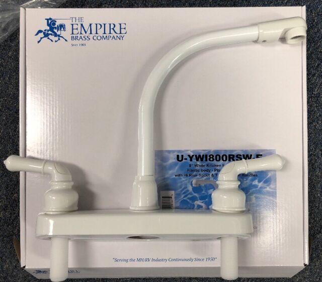 "8/"" White Kitchen Faucet Plastic Body High Rise Spout /& Teapot Lever Mobile RV"