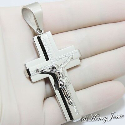 "MEN's Stainless Steel 2""x1.4"" Silver JESUS Cross Charm Pendant*J40"