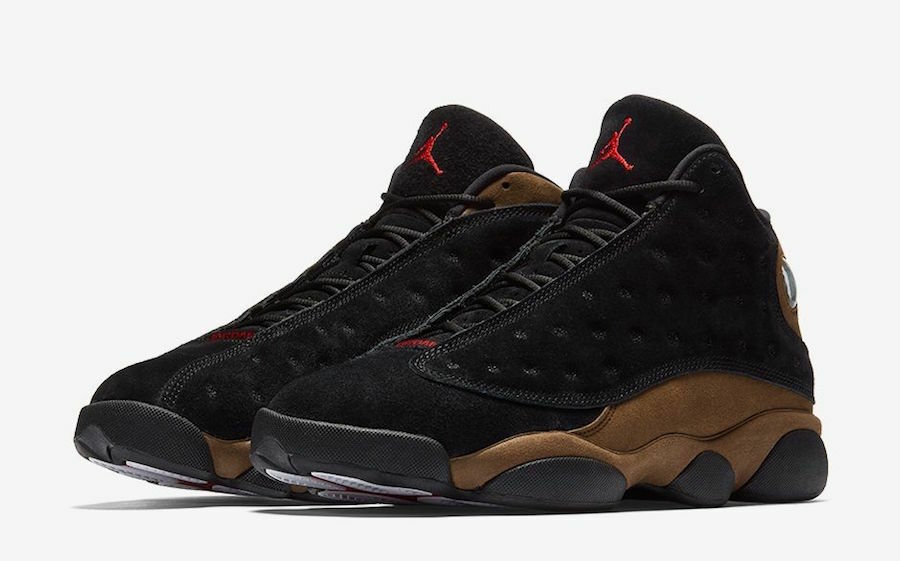AIR JORDAN RETRO 13 YOUTH 884129-006 OG OLIVE SHIP NOW XIII BLACK RED SUEDE NEW