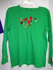 Ladies Green with Red Birds on front & bottom of sleeves Size Small Knit Top