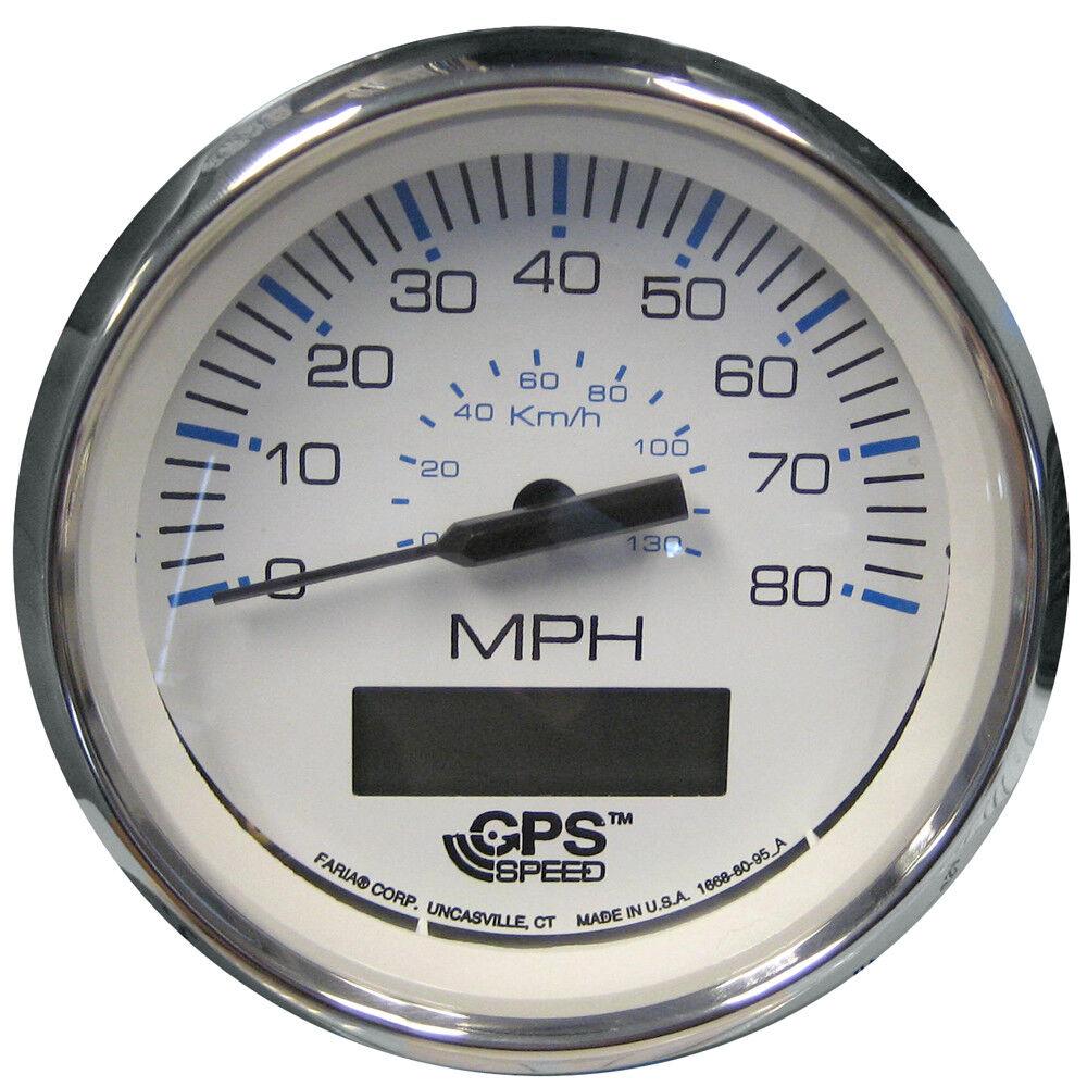 Faria Beede Instruments 33829 Faria Chesapeake bianca Ss 4 Speedometer  80mph