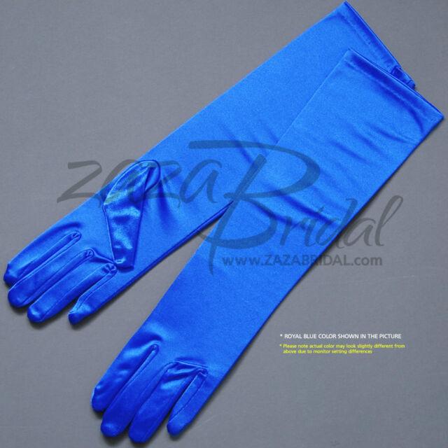 Various Colors Sizes Girl/'s Fancy Shiny Stretch Satin Dress Gloves-Wrist length