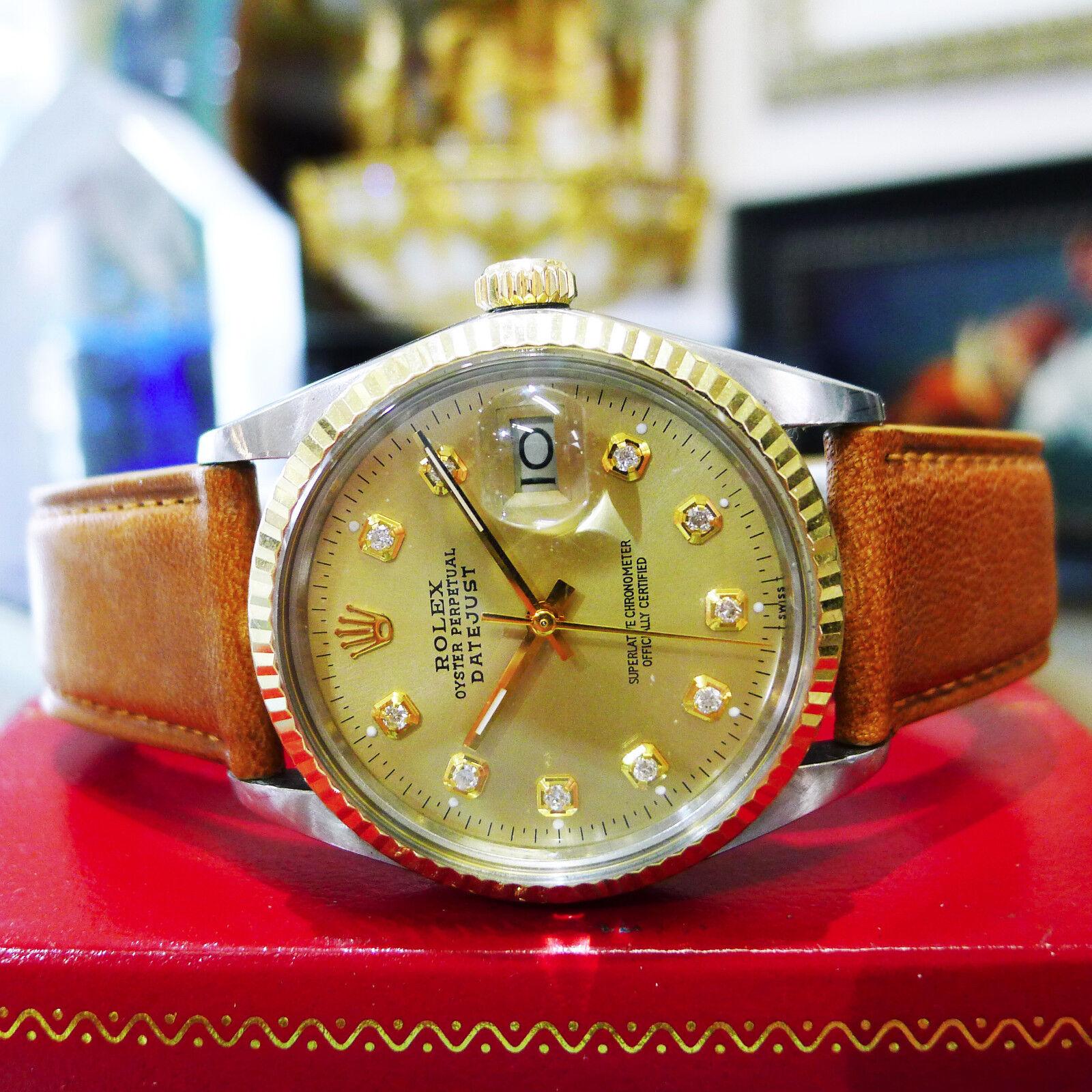 84963a31016 Detalhes sobre Homens Vintage ROLEX Oyster Perpetual Datejust Ouro Amarelo  Diamante Aço Relógio- mostrar título no original