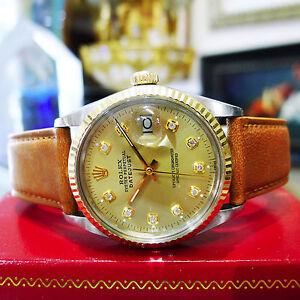 8b36eb0e0caf La foto se está cargando Hombre-Vintage-ROLEX-Oyster-Perpetual-Datejust -Diamante-Acero-