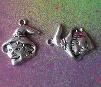 20 Halloween Witch Hat Star Wicca Charm Pendants For Halloween Haunted Jewelry