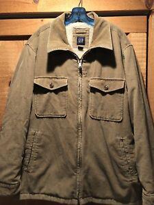 Mens Gap Corduroy Sherpa Lined Jacket Coat Xxl 2xl Beige Khaki Ebay
