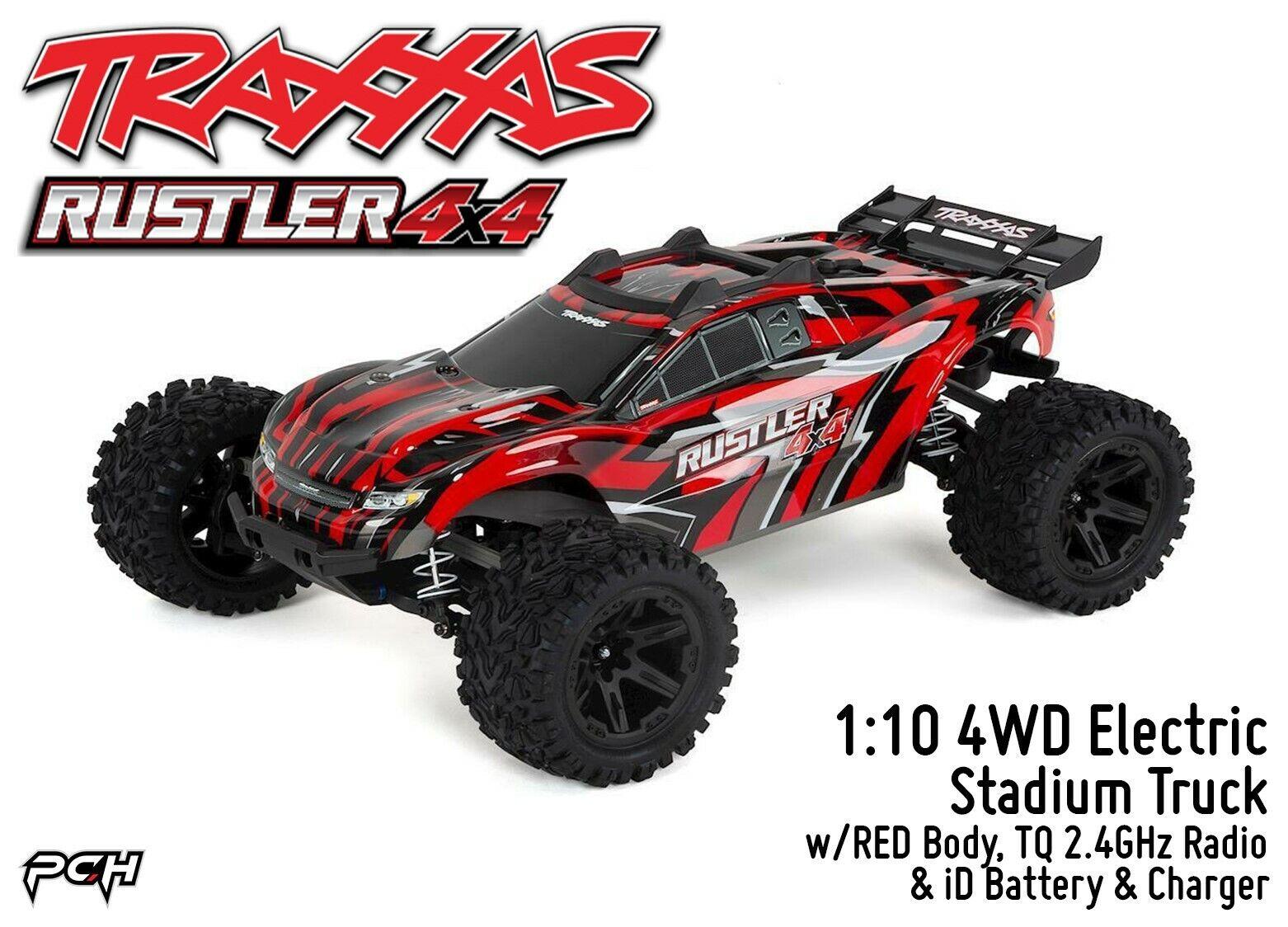TRAXXAS 1 10 RUSTLER 4X4 4WD Estadio Camión con 2.4GHz Radio Listo Para Correr (Rojo) TRA670641