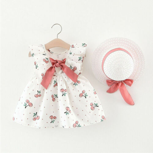 Cherry Dot Bow Hat Outfits Toddler Baby Kids Girls Sleeveless Princess Dresses L