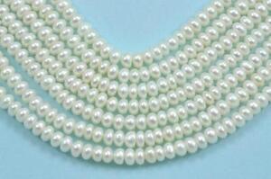 4-5mm-Blanco-Marfil-Rondelle-Boton-perlas-de-Agua-Dulce-Cuentas-A