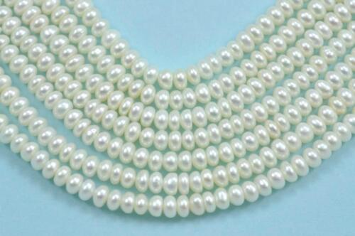 4-5mm White Ivory Rondelle Button Freshwater Pearls Beads A for Jewellery Making