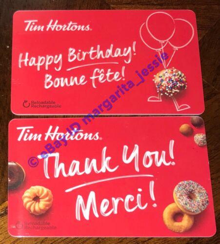 2 TIM HORTONS 2018 GIFT CARD BIRTHDAY THANK YOU MERCI NO VALUE FD 61812 FD 61813
