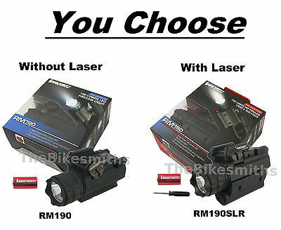 Nebo iProtec RM190/ RM190LSR 190Lm Firearm Rail Mount Light/ Light& Laser Combo