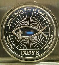 Easter 1 oz .999 silver Jesus Fish John 3:16 bible verse God Christ baptism INRI
