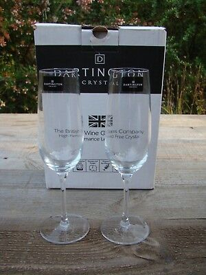 Kind-Hearted Boxed Dartington Tall Clear Lead Crystal Glass Champagne Flutes Glasses Pure Whiteness Glass