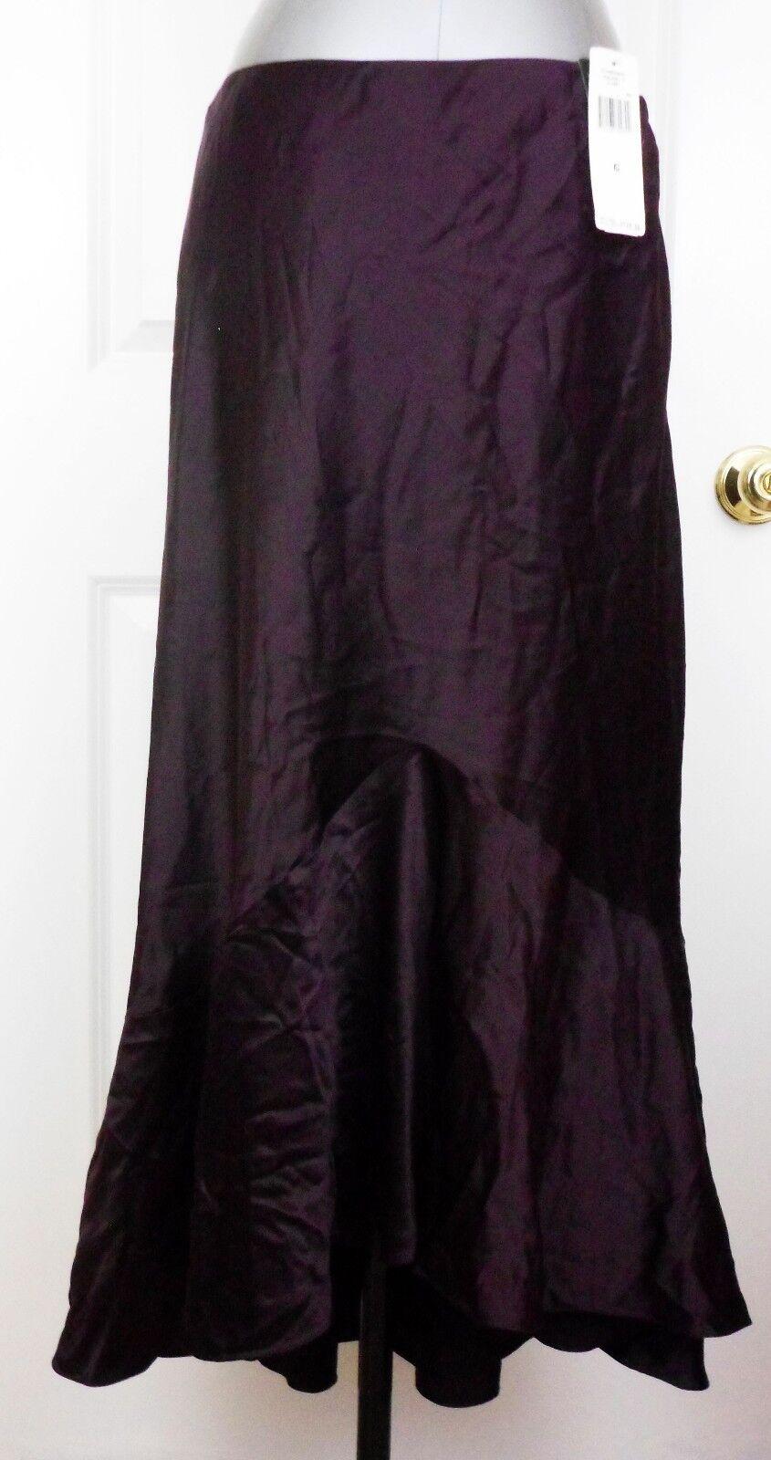 New RALPH LAUREN Woman ANGLESEY CLARET SKIRT Silk Bias Cut Long Maroon SZ 6