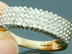 9ct-Gold-1-00ct-Diamond-Ladies-or-Gents-Mens-Ring-size-R