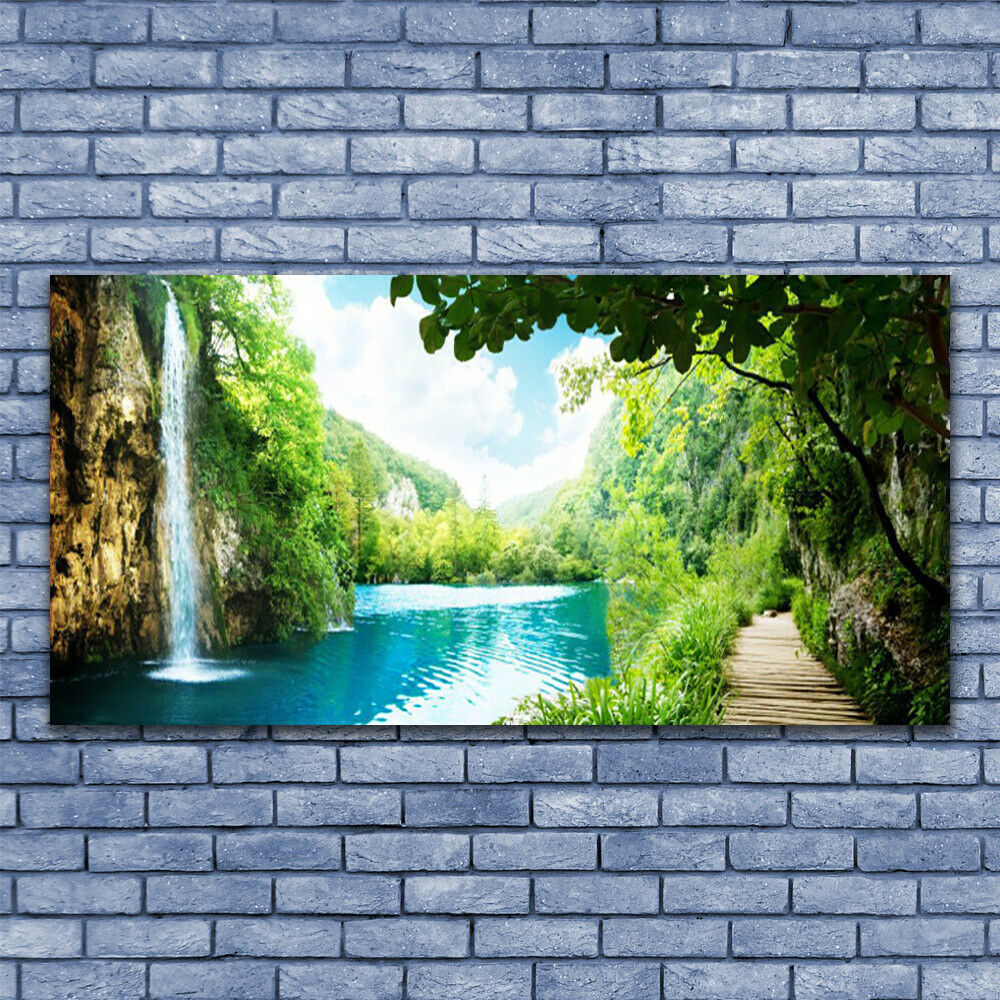 Print on Glass Wall art 140x70 Picture Image Waterfall Lake Trees Nature