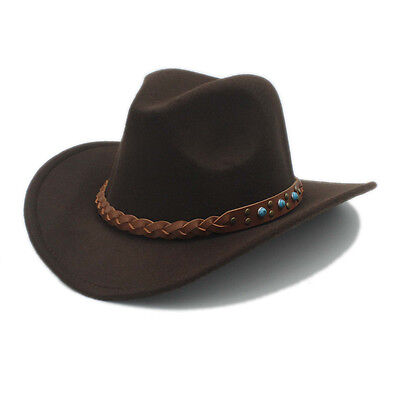 5d12ea42f Women Men Wool Western Cowboy Hat Westworld Cowgirl Fedora Sombrero Jazz  Cap   eBay