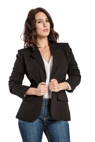 Miss Halladay Women Black Stretch Ponte Full Lined Tailored Blazer Flap Pocket