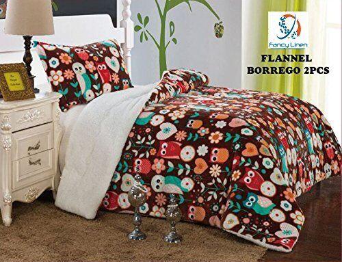 Fancy Linen Twin, Full Blanket Bedspread Brown Owl Soft Plush with Sherpa New