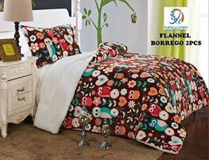Fancy-Linen-Twin-Full-Blanket-Bedspread-Brown-Owl-Soft-Plush-with-Sherpa-New