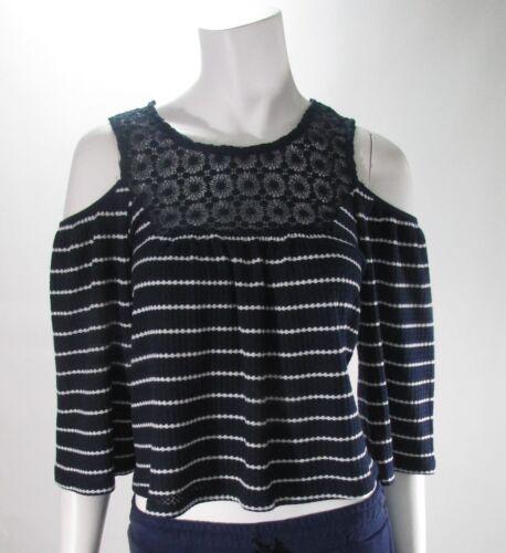 Romeo /& Juliet Couture Open Shoulder Navy /& White Striped Top Shirt Sz S,M,L