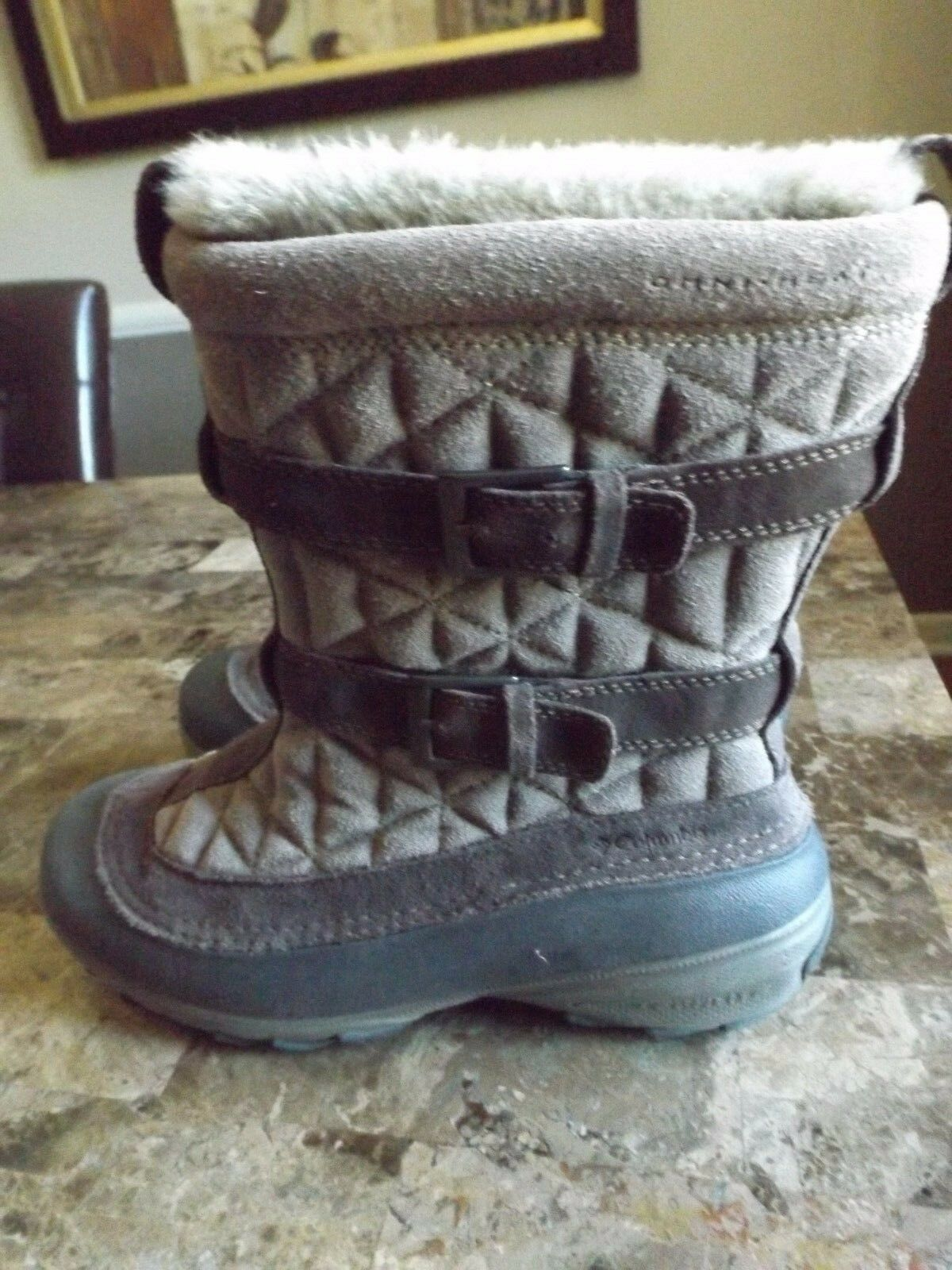 COLUMBIA Tan/Brown Omni Heat FLURRY Faux Fur Pull On Suede Leather Boots Sz 8