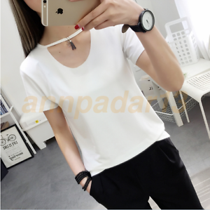 2017-Women-Short-Sleeve-Hollow-Round-Neck-T-Shirt-Casual-Loose-Tops-Blouse-NewW