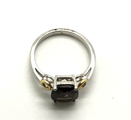 Sterling Silver Two Tone Solitaire Smoky Topaz Lock circle petite Cocktail Ring