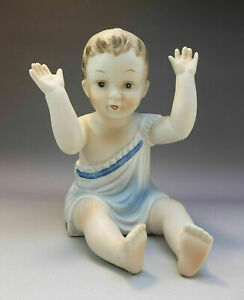 Large-Piano-Baby-Boy-Blue-Porcelain-Bisque-Figurine-Hand-Painted