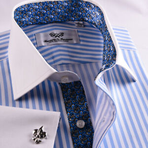 White-amp-Blue-Designer-Striped-Business-Dress-Shirt-French-Cuff-Luxury-Formal-GQ