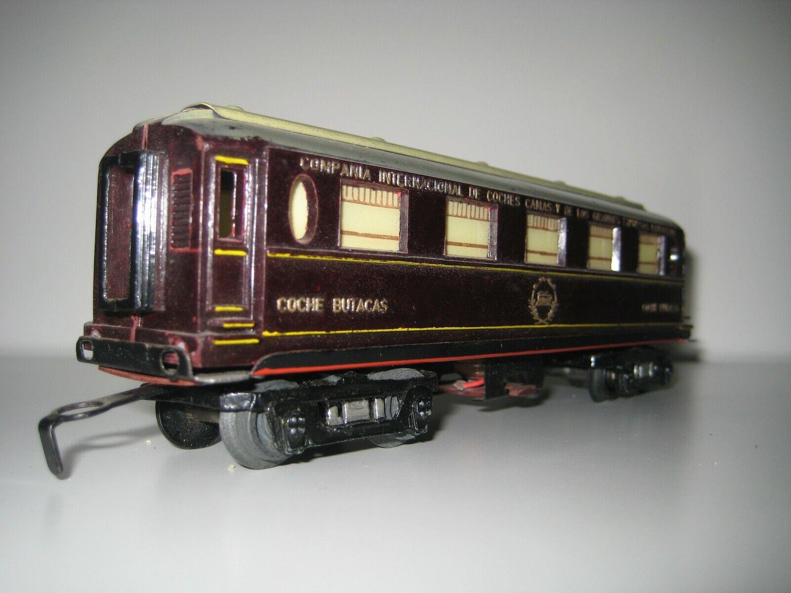 Vagon artesanal de latón H0 - Coche butacas de la Compañía Internacional de Coch
