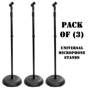 Pack of (3) Pyle PMKS5 Compact Base Black Microphone / Mic Stand DJ Pro Audio