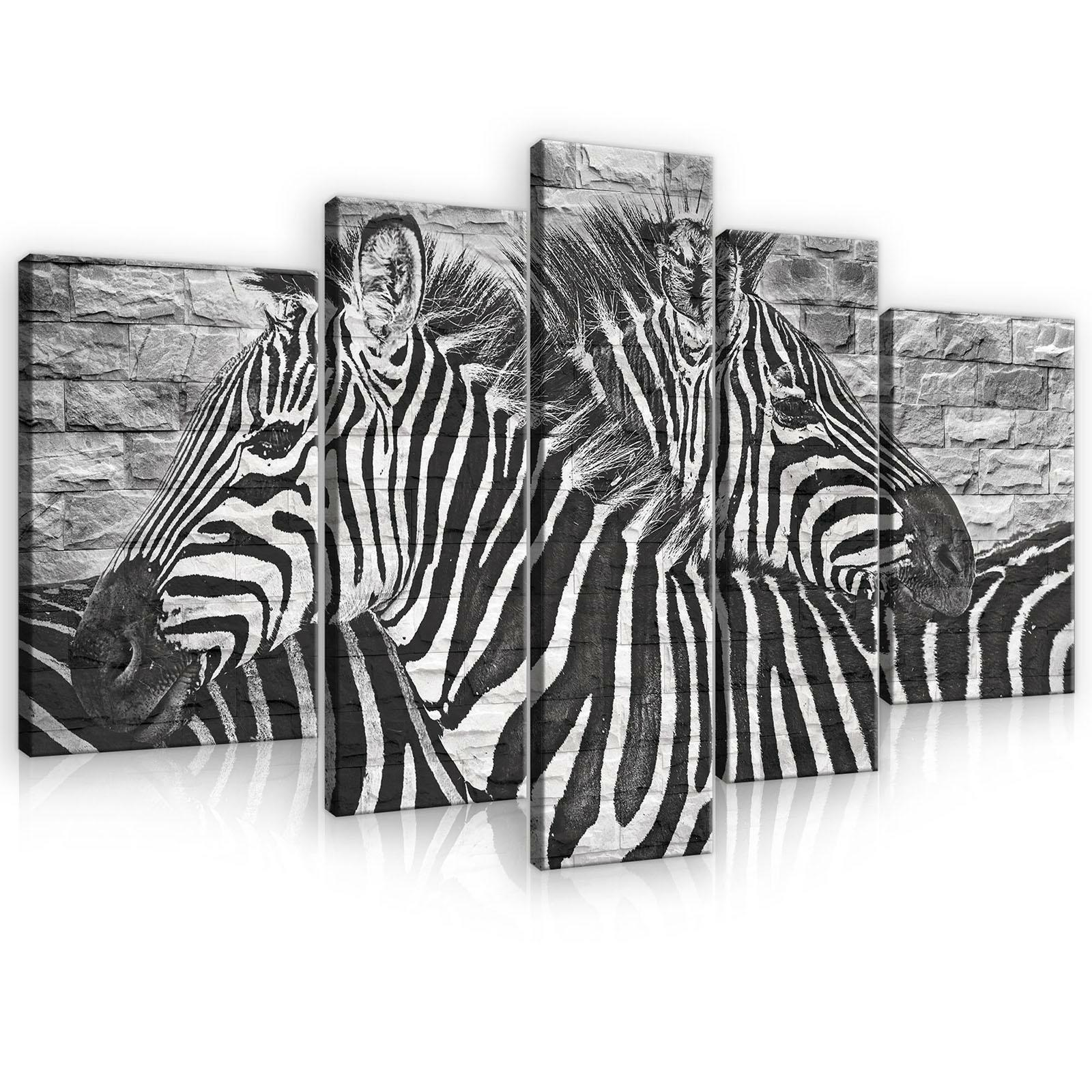 Immagine Parete Set Tela Stampa d'Arte 10113_ps4a-1 Canvas Picture Print Set ZEBRA