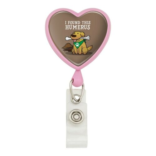 I Found This Humerus Bone Dog Humorous Heart Lanyard Reel Badge ID Card Holder