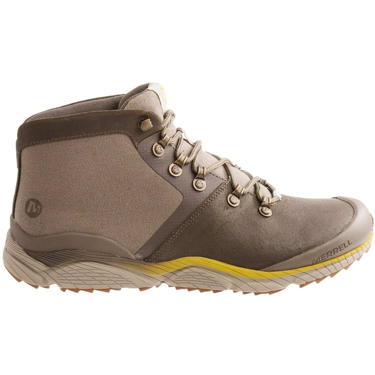 NIB MERRELL MEN ALL OUT DRIFT MID SUEDE LEATHER HIKING BOOTS 10 BOULDER BROWN