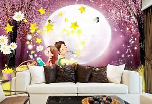 3D Full Moon Star Night 7532 Wall Paper Wall Print Decal Wall AJ WALLPAPER CA