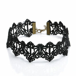 Retro-Gothic-Grunge-Vintage-Black-Thick-Lace-Choker-Necklace-Collar-Boho