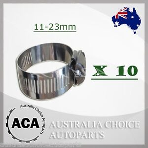 10-x-Brand-New-Stainless-Steel-Hose-Clamp-11mm-to-23mm-with-12-7mm-width