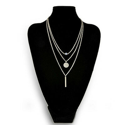 Infinity Lady Retro Simple Design Street Gold Sequins Multilayer Short Necklace