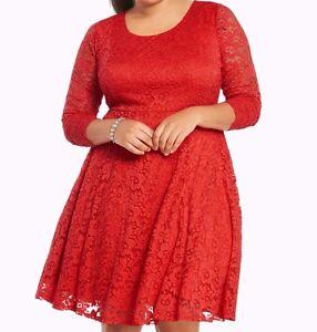 2d71ef9996a Torrid Floral Lace Skater Dress Red 00X Med Large 10 00  32730