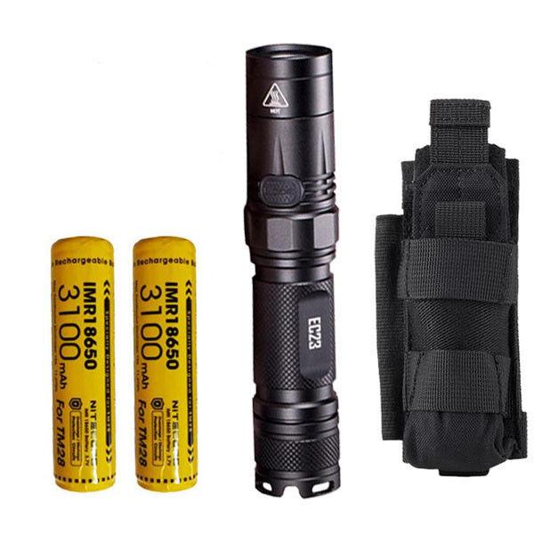 Combo  Nitecore EC23 Flashlight w 2x 3100mAh 10A Battery & NCP30 Holster