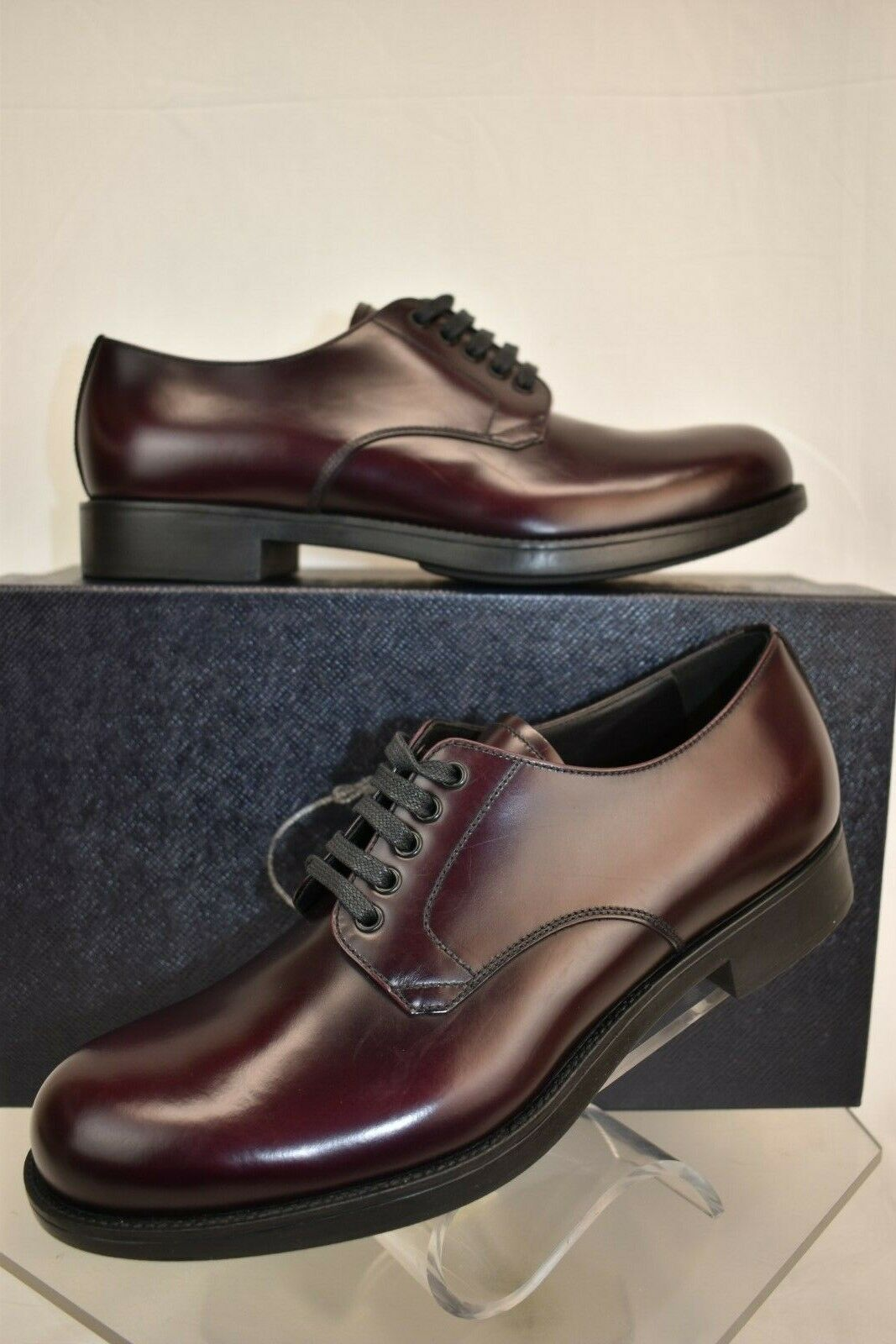 NIB PRADA BURGUNDY CORDOVAN LEATHER LACE UP CLASSIC DERBY scarpe 7 8 ITALY