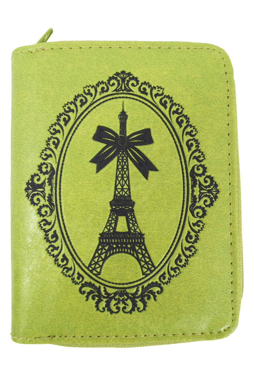 Lavishy French Kiss Paris Eiffel Tower Embossed Zip Around Wallet