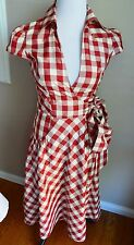 Diane von Furstenberg DVF Tarence Red Gingham Plaid Silk Summer Wrap Dress US 6